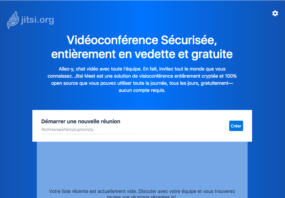 Capture d'écran de la page d'accueil de l'outil de visioconférence qu'on a installé. Il est écrit «Vidéoconférence Sécurisée, entièrement en vedette et gratuite», puis un petit texte long illisible puis «démarrer une nouvelle réunion»